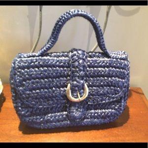 Goldco 1950/60s statement wicker bag in vibrant blue